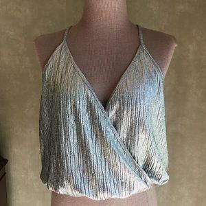 Zara Metallic Gold/ Silver Wrap Top